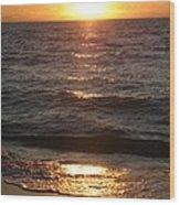 Golden Sunset At Destin Beach Wood Print