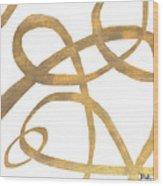 Golden Swirls Square II Wood Print