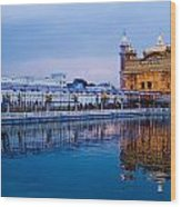 Golden Temple Blue Sky Wood Print
