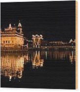 Golden Temple Reflected In Water Wood Print