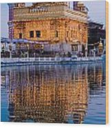 Golden Temple With Reflection Wood Print