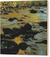 Golden View Of The Little River In Autumn Wood Print by Dan Sproul