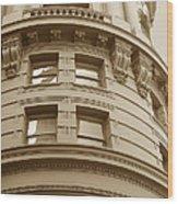 Golden Vintage Building Wood Print