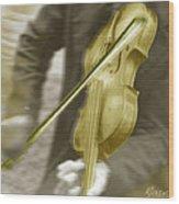 Golden Violin Wood Print