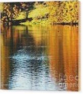 Golden Water Wood Print