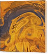 Golden Waves Of Blue Wood Print