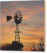 Golden Windmill Silhouette Wood Print
