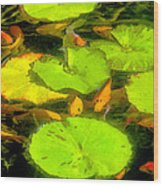 On Goldfish Pond Artwork Wood Print