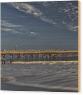 Goleta Beach And Pier Wood Print