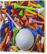Golf Ball And Tees Wood Print