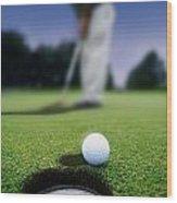 Golf Ball Near Cup Wood Print