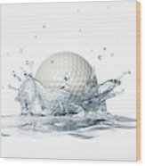 Golf Ball Splashing Into Water Wood Print