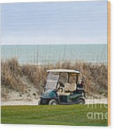 Golf Cart At Kiawah Island Golf Course Wood Print