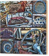 Golf Cart Collage Wood Print