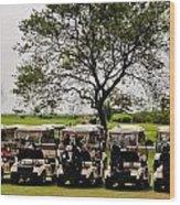 Golf Carts Wood Print