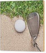 Golf Club And Ball Wood Print