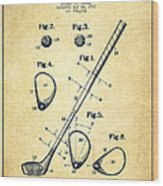 Golf Club Patent Drawing From 1910 - Vintage Wood Print