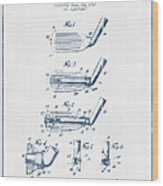 Golf Club Patent Drawing From 1917 - Blue Ink Wood Print