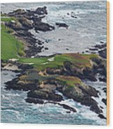 Golf Course On An Island, Pebble Beach Wood Print