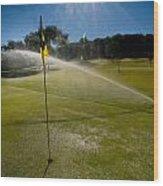 Golf Course Sprinkler On Sunny Day Wood Print