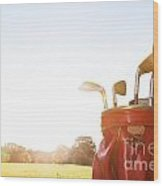 Golf Equipment Professional Clubs On Golf Course Wood Print
