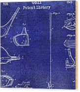 Golf Patent History Drawing Blue Wood Print