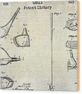 Golf Patent History Drawing Wood Print