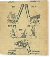 Golf Putter Patent Wood Print by Edward Fielding