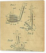 Golf Sand Wedge Patent On Aged Paper Wood Print