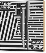 Golf Swing Maze  Wood Print