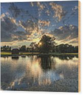 Golfcourse Sunset Wood Print