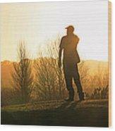 Golfer At Sunset Wood Print