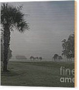 Golfing In The Fog Wood Print