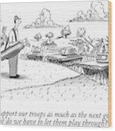Golfing Through A Warzone Wood Print