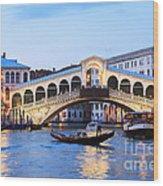 Gondola In Front Of Rialto Bridge At Dusk Venice Italy Wood Print