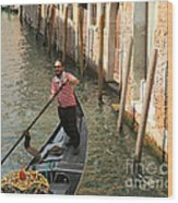 Gondola Man Wood Print