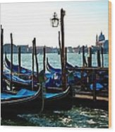 Gondolas At Rest Wood Print