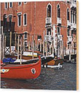 Gondolas In A Canal, Grand Canal Wood Print