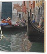 Gondolas In Venice Wood Print