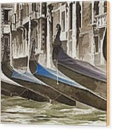 Gondolas-in-waiting   Venice Wood Print