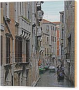Gondolas On Backstreet Canal Wood Print