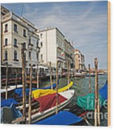Gondolas On The Grand Canal Wood Print