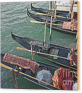 Gondolas Waiting For Tourists In Venice Wood Print by Kiril Stanchev