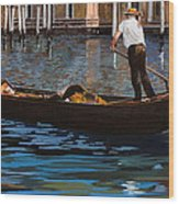 Gondoliere Sul Canale Wood Print