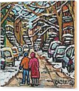 Good Day In January For Winter Stroll Snowy Trees And Cars Verdun Street Scene Painting Montreal Art Wood Print