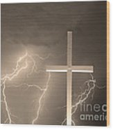 Good Friday In Sepia Wood Print