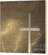Good Friday In Sepia Texture Wood Print