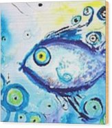 Good Luck Fish Abstract Wood Print