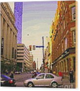 Good Morning Drive By Yonge St Starbucks Toronto City Scape Paintings Canadian Urban Art C Spandau  Wood Print