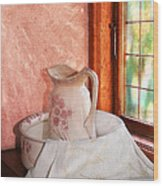 Good Morning- Vintage Pitcher And Wash Bowl  Wood Print
